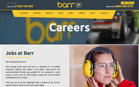 Screenshot of Jobs Page barr.co.uk - Barr Careers – Current Vacancies - captured July 25, 2018