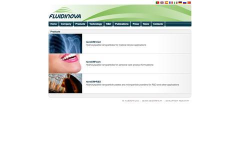 Screenshot of Products Page fluidinova.com - Fluidinova, SA - Hydroxyapatite Product Range - captured Sept. 16, 2014