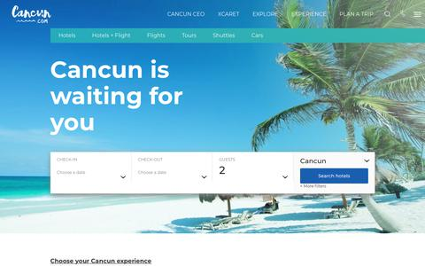 Screenshot of Home Page cancun.com - Cancun Mexico Hotels, Vacation Packages, & All-Inclusive Deals - captured Sept. 22, 2018