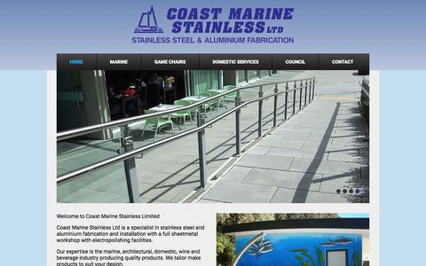 Screenshot of Home Page coastmarinestainless.co.nz - Coast Marine Stainless | Stainless Steel | Aluminium Fabrication | Aluminium Welding - captured June 16, 2016