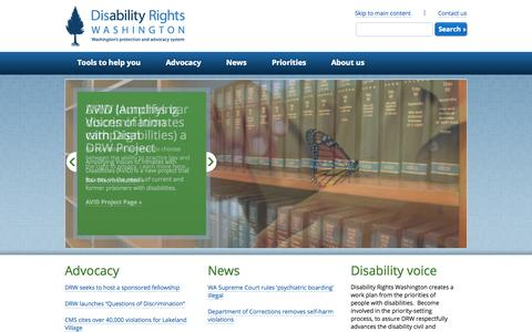 Screenshot of Home Page disabilityrightswa.org - Homepage | Disability Rights Washington - captured Oct. 5, 2014