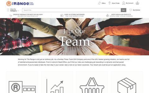 Screenshot of Jobs Page therange.co.uk - Careers - captured June 29, 2017