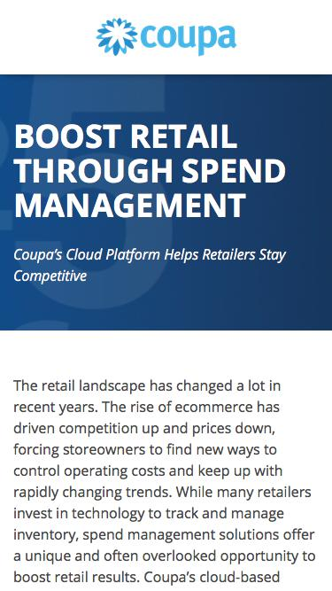 Boost Retail Through Spend Management | Strategic Spend Management Solution | Coupa Software