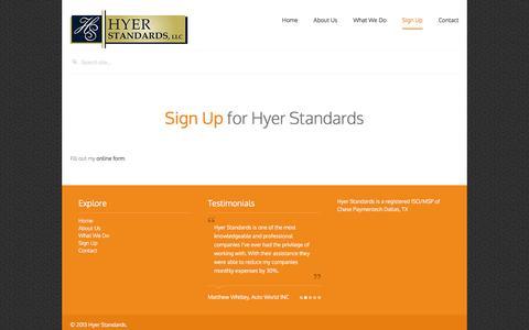 Screenshot of Signup Page hyerstandards.com - Sign Up - Hyer Standards - captured Feb. 1, 2016