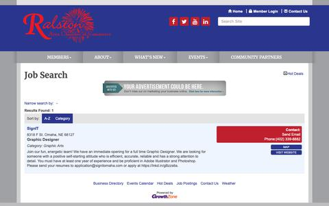 Screenshot of Jobs Page ralstonareachamber.org - Job Search - Ralston Area Chamber of Commerce, NE - captured Oct. 19, 2018