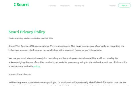 Screenshot of Privacy Page scurri.co.uk - Scurri Privacy Policy and Cookie Usage as of May 2018 - captured Nov. 3, 2018