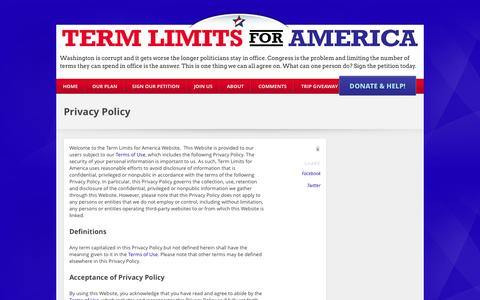 Screenshot of Privacy Page termlimitsforamerica.org - Privacy Policy - My CMS - Send Congress Home - captured Oct. 26, 2014