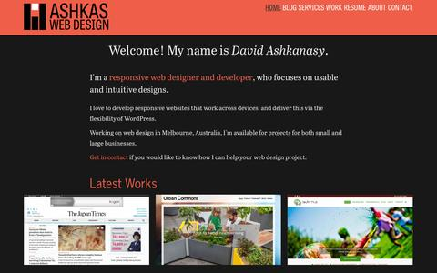 Screenshot of Home Page ashkas.com - Ashkas Web Design, Melbourne - Responsive web designer, developing custom WordPress sites, in Melbourne. - captured Oct. 4, 2014