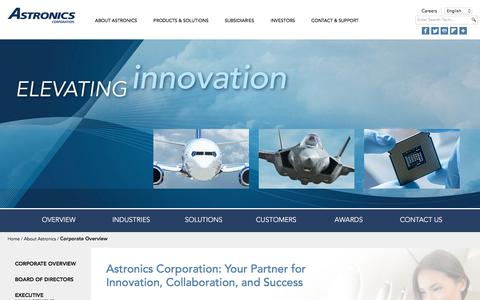 Screenshot of About Page astronics.com - Astronics Corporate Overview - captured June 12, 2018