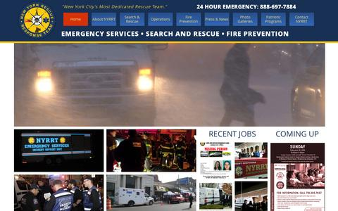 Screenshot of Home Page nyrrt.org - NYRRT - New York Rescue Response Team - NYC - captured Feb. 26, 2016