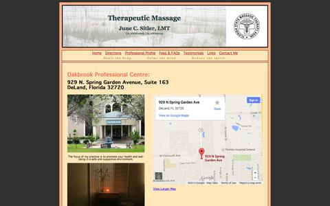 Screenshot of Maps & Directions Page junesitler.com - June Sitler LMT - captured Oct. 6, 2014