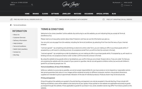 Screenshot of Terms Page gusjonesjewellers.co.uk - Terms & Conditions - captured July 19, 2016