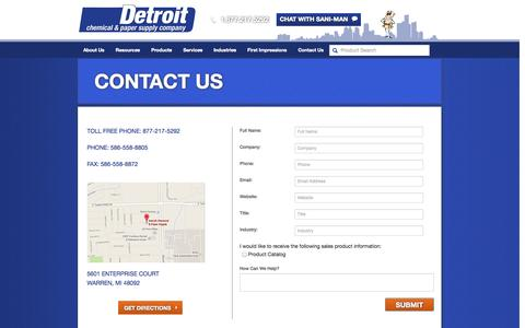 Screenshot of Contact Page detroitchemical.com - Contact Us   Detroit Chemical - captured Oct. 5, 2014