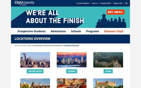 Screenshot of Locations Page cityu.edu - Global University Locations | CityU - captured Sept. 23, 2018