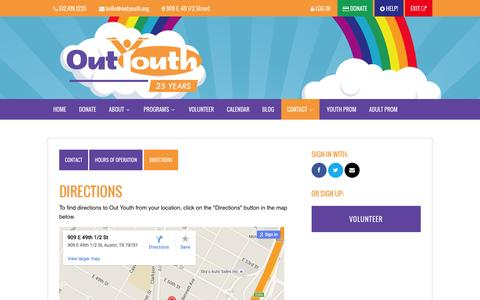 Screenshot of Maps & Directions Page outyouth.org - Directions - Out Youth - captured June 16, 2016