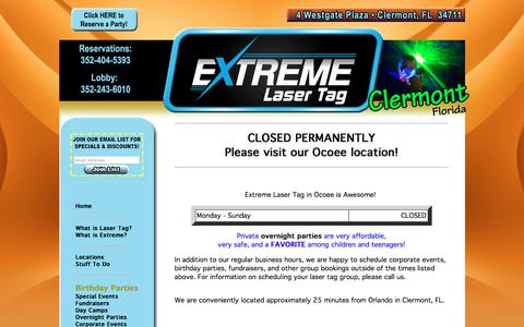Screenshot of Hours Page clermontlasertag.com - Extreme Laser Tag - Clermont, FL - Home of the ULTIMATE Birthday Party! - captured Feb. 9, 2018
