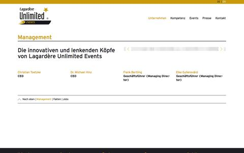 Screenshot of Team Page lagardere-unlimited.de - Management— Lagardère Unlimited Events - captured Oct. 26, 2014