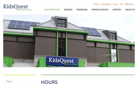 Screenshot of Hours Page kidsquestmuseum.org - Hours - Kids Quest Children's Museum - captured Oct. 15, 2018