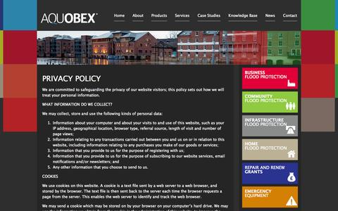 Screenshot of Privacy Page aquobex.com - Privacy Policy | Aquobex - Independent Flood Management Solutions - captured Oct. 4, 2014