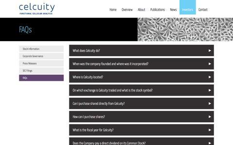 Screenshot of FAQ Page celcuity.com - FAQs - celcuity - captured Nov. 1, 2017