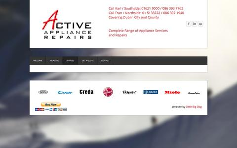 Screenshot of Services Page activeappliancerepairs.ie - Services - Active Appliance Repairs - captured Dec. 5, 2015