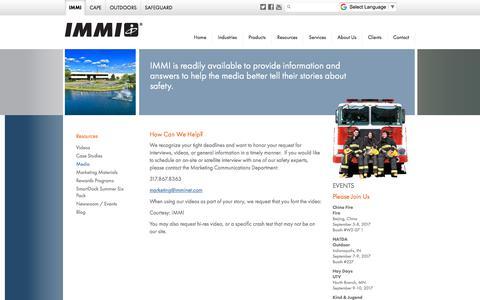 Screenshot of Press Page imminet.com - Media - IMMI - captured Sept. 30, 2017