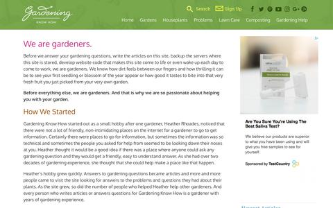 Screenshot of About Page gardeningknowhow.com - Learn More About Gardening Know HowGardening Know How - captured May 21, 2018
