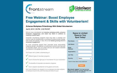 Screenshot of Landing Page frontstream.com - Free Webinar - Enhance Workplace Philanthropy With Global Volunteerism! - captured May 31, 2018