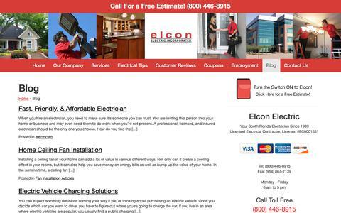 Screenshot of Blog elconelectric.com - Miami Electrician blog - captured Dec. 14, 2018