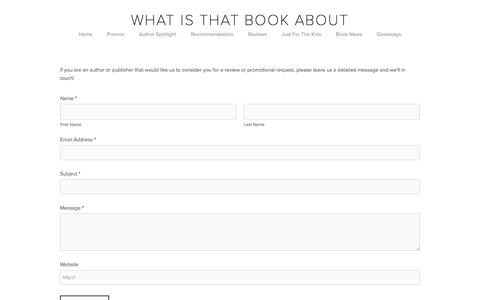Screenshot of Contact Page whatisthatbookabout.com - Contact Us — What Is That Book About - captured Feb. 20, 2016