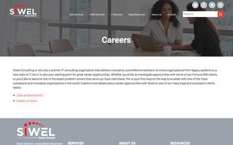Screenshot of Jobs Page siwel.com - Careers - captured Oct. 2, 2018