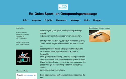 Screenshot of Home Page re-quies.nl - hoofd - Re-Quies Sport- en Ontspanningsmassage - captured March 3, 2018