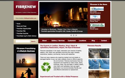 Screenshot of Home Page fibrenew.com - Fibrenew - The Experts in Leather Repair, Vinyl and Plastic Restoration - captured Oct. 10, 2014