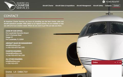 Screenshot of Contact Page flywithacs.com - Contact Us | American Charter Services - captured Oct. 8, 2017