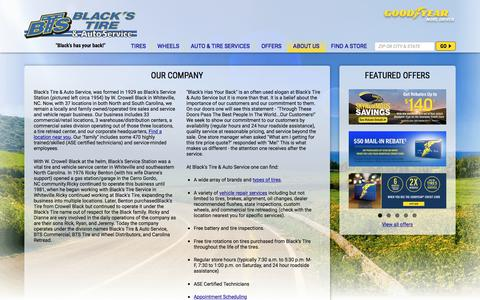 Screenshot of About Page blackstire.com - About Black's Tire & Auto Service | Tires & Auto Repair NC & SC - captured June 1, 2017