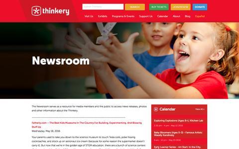 Screenshot of Press Page thinkeryaustin.org - Newsroom - Thinkery - captured May 22, 2016