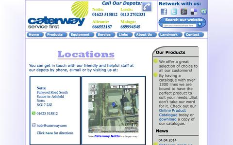 Screenshot of Locations Page caterway.com - Caterway - Contact Us - captured Sept. 29, 2014