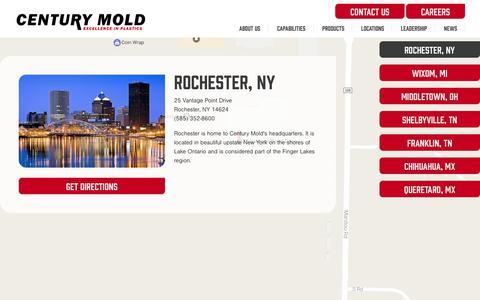 Screenshot of Locations Page centurymold.com - Century Mold - Locations - captured July 22, 2017