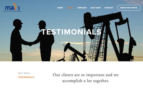 Screenshot of Testimonials Page markaoneal.com - Testimonials — Mark A. O'Neal & Associates, Inc. - captured Oct. 17, 2018