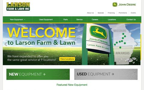Screenshot of Home Page larsonjd.com - Larson Farm and Lawn Inc. - captured Sept. 18, 2015