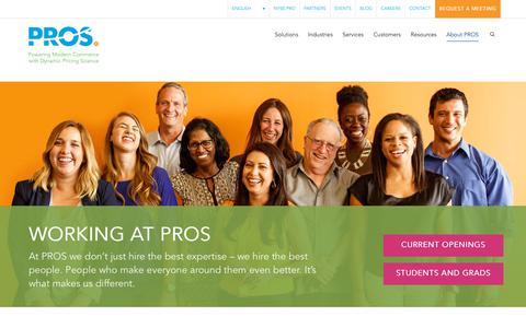 Screenshot of Jobs Page pros.com - Explore Amazing Career Opportunities with PROS - captured Aug. 28, 2018