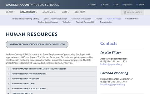 Screenshot of Jobs Page jcpsnc.org - Jackson County School District - Human Resources - captured Jan. 21, 2017