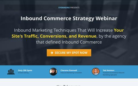 Screenshot of Landing Page clickfunnels.com - Inbound Commerce Strategy Webinar - captured July 15, 2016