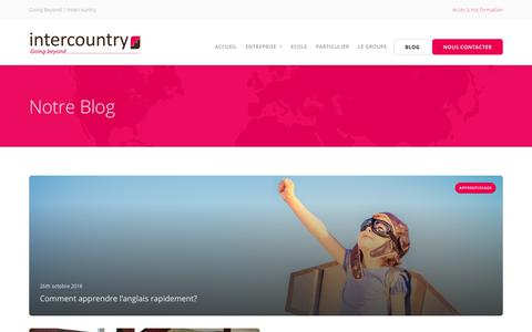 Screenshot of Blog intercountry.com - Blog - Intercountry: Going Beyond | Formations en langues innovantes - captured Oct. 29, 2018