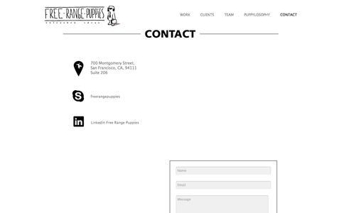 Screenshot of Contact Page free-rangepuppies.com - Contact » Free Range PuppiesFree Range Puppies - Unleashed Ideas - captured Sept. 30, 2014