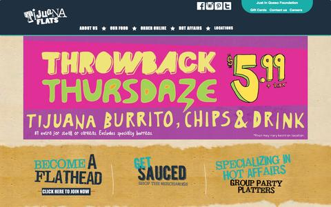 Screenshot of Home Page tijuanaflats.com - Tijuana Flats - captured Sept. 22, 2014