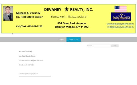Screenshot of Contact Page devaneyrealty.com - Contact Us - devaneyrealty.com - captured Oct. 8, 2018