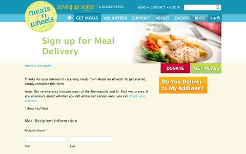 Screenshot of Signup Page meals-on-wheels.com - Sign up for Meal Delivery | Metro Meals on Wheels - captured Oct. 27, 2014