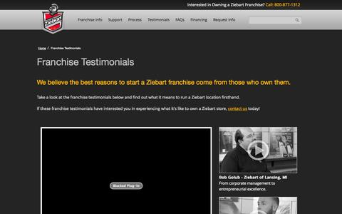 Screenshot of Testimonials Page ziebart.com - Franchise Testimonials | Franchising Opportunities | Ziebart - captured Nov. 4, 2014