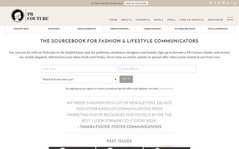 Screenshot of Signup Page prcouture.com - THE SOURCEBOOK FOR FASHION & LIFESTYLE COMMUNICATORS | Fashion PR Public Relations | PR Couture - captured July 9, 2016